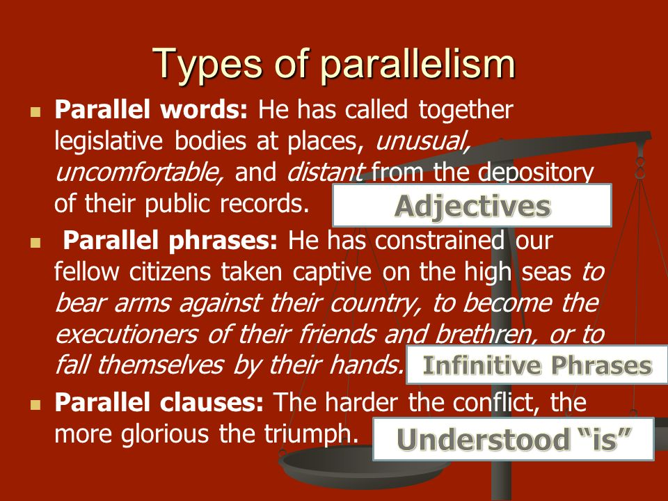 an examination of parallelism An examination of psalm 130 by jason dulle jasondulle@yahoocom psalm 130 the genius of hebrew poetry is seen in its parallelism of thought.
