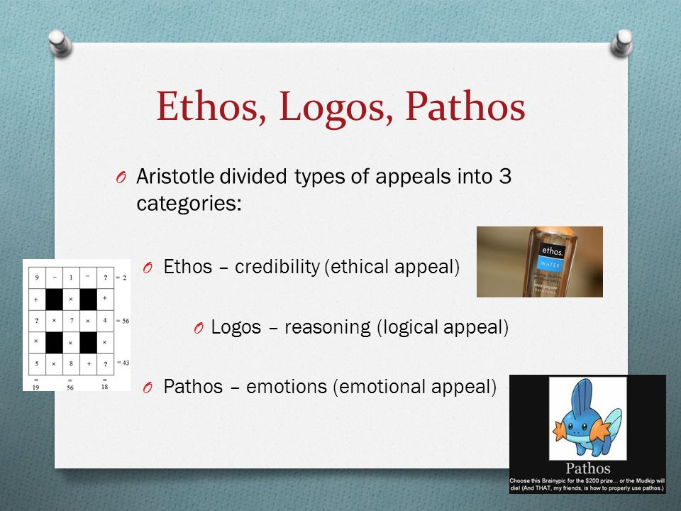 essay on ethos pathos logo Since the time of aristotle, humans have used the three pillars of persuasion: pathos, ethos, and logos this articles looks at the meanings and uses of.