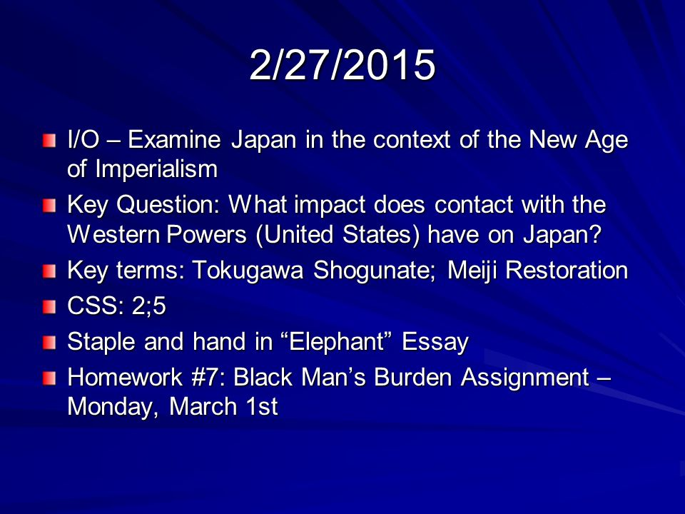japan and the influence of imperialism essay Writing sample of essay on a given topic imperialism in india and china imperialism in india and china imperialism is the dominance of strong country over weak .