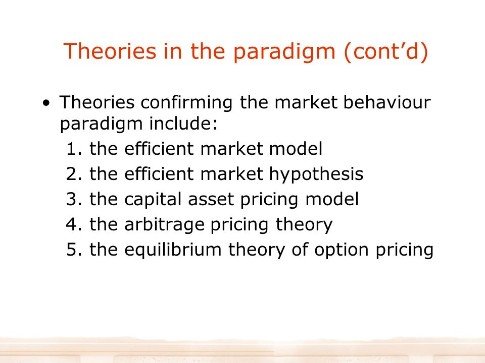 efficient market theories The intuition behind the efficient markets hypothesis is pretty straightforward- if the market price of a stock or bond was lower than what available information would suggest it should be.