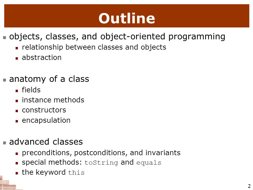 Outline objects, classes, and object-oriented programming