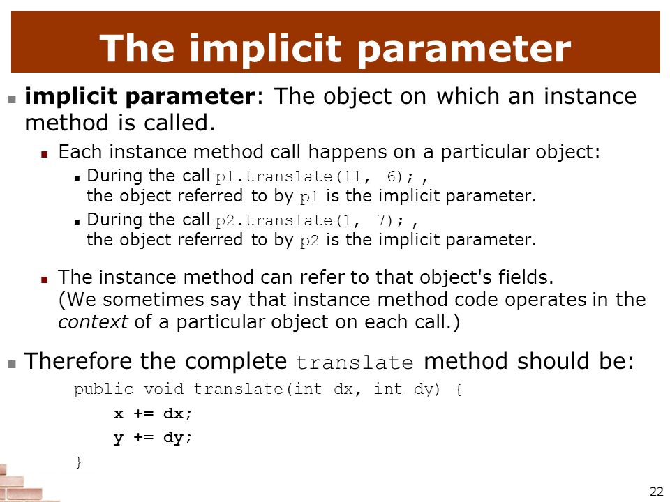 The implicit parameter