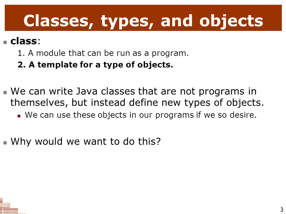 Classes, types, and objects
