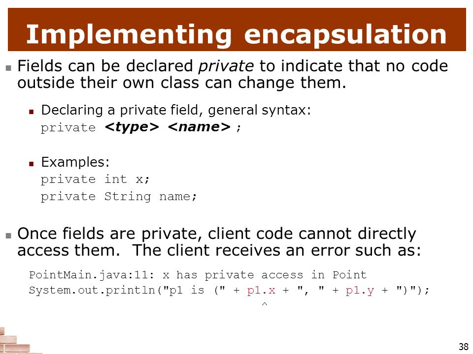 Implementing encapsulation