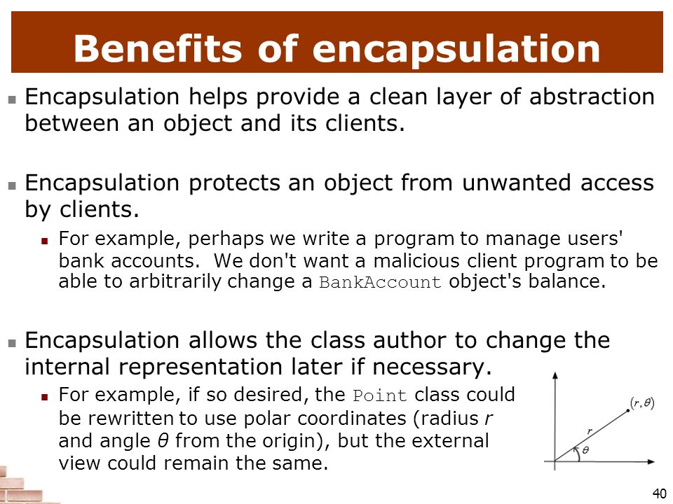 Benefits of encapsulation