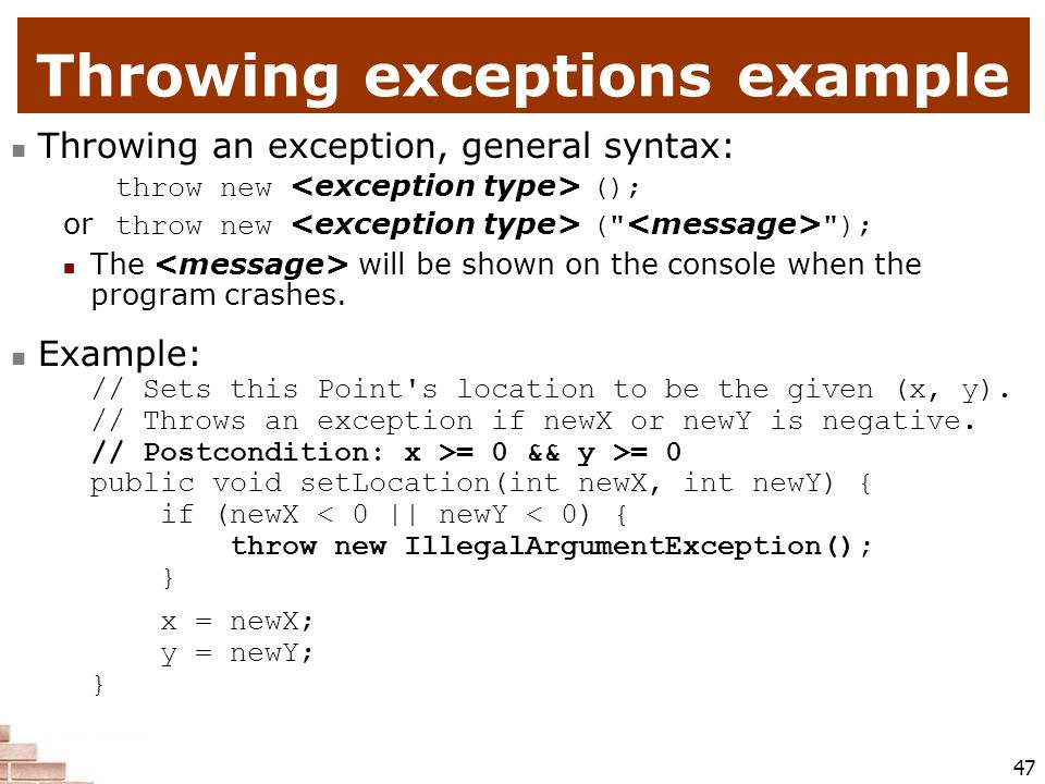 Throwing exceptions example