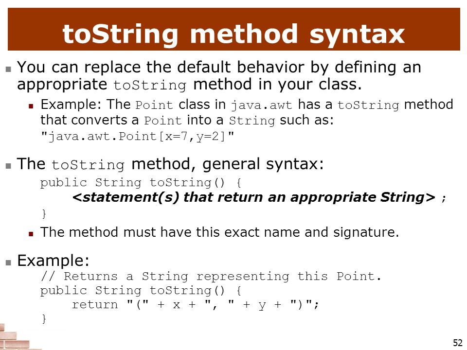 toString method syntax