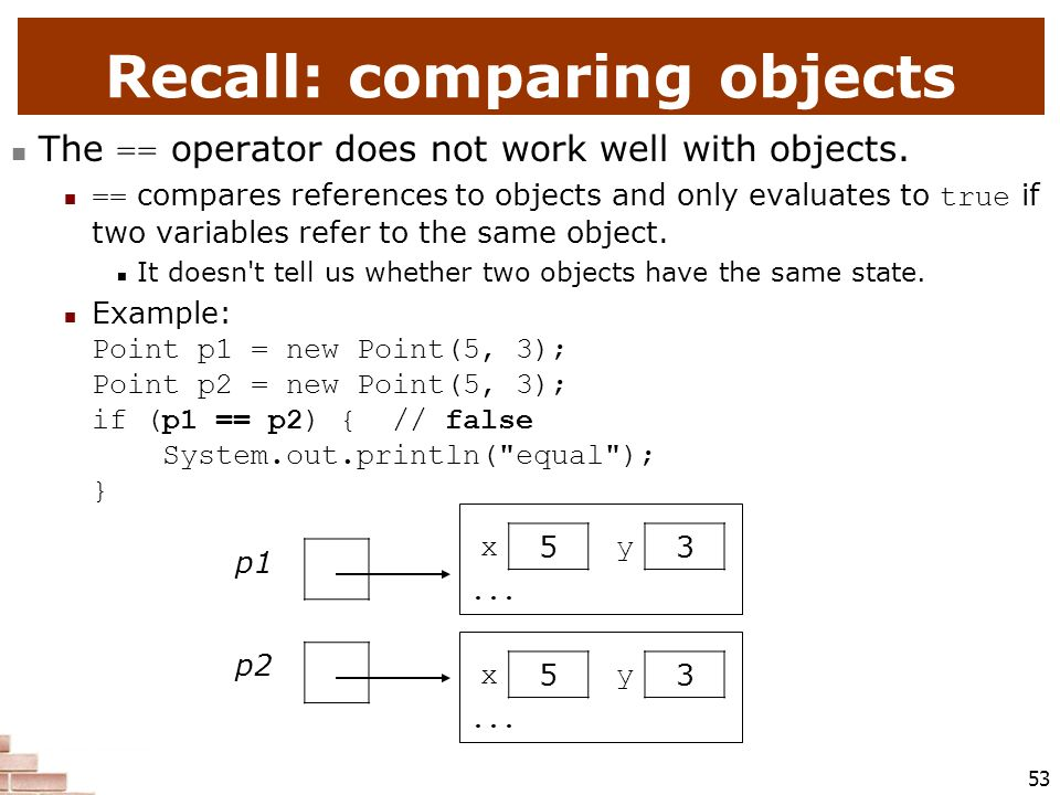 Recall: comparing objects