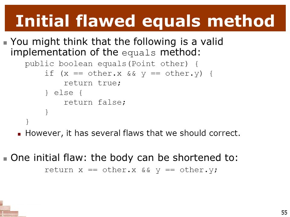 Initial flawed equals method