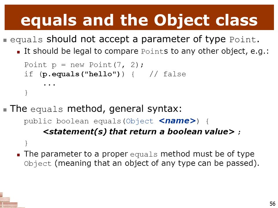 equals and the Object class