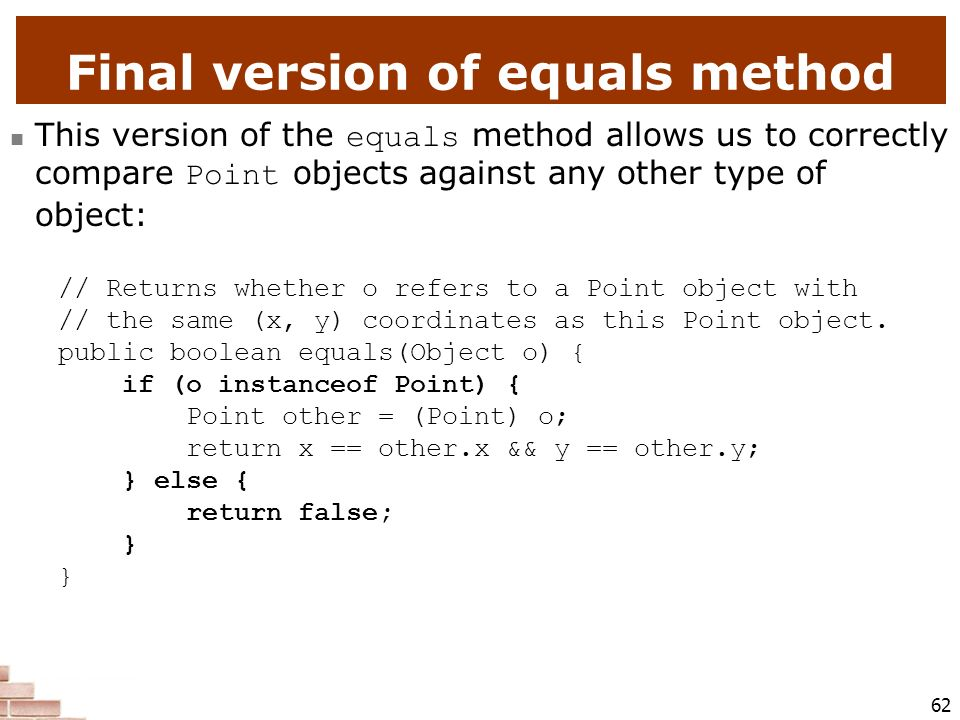 Final version of equals method