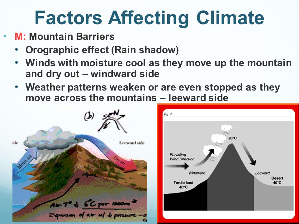 factors affecting climate Climate is the average weather conditions experienced in a location climate is the weather in a place climate is the long range weather forecast for a country or city it's to do with the curve.
