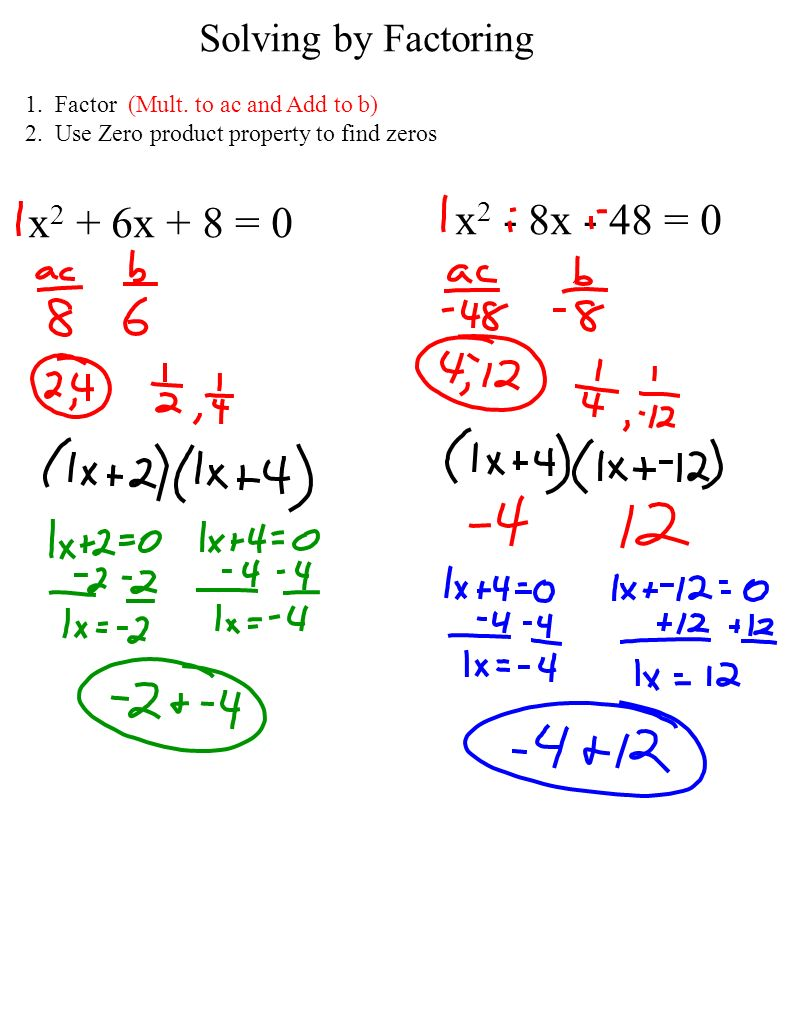 Algebra 1 Ch10 Notes Page 81 P Factoring To Solve Quadratic