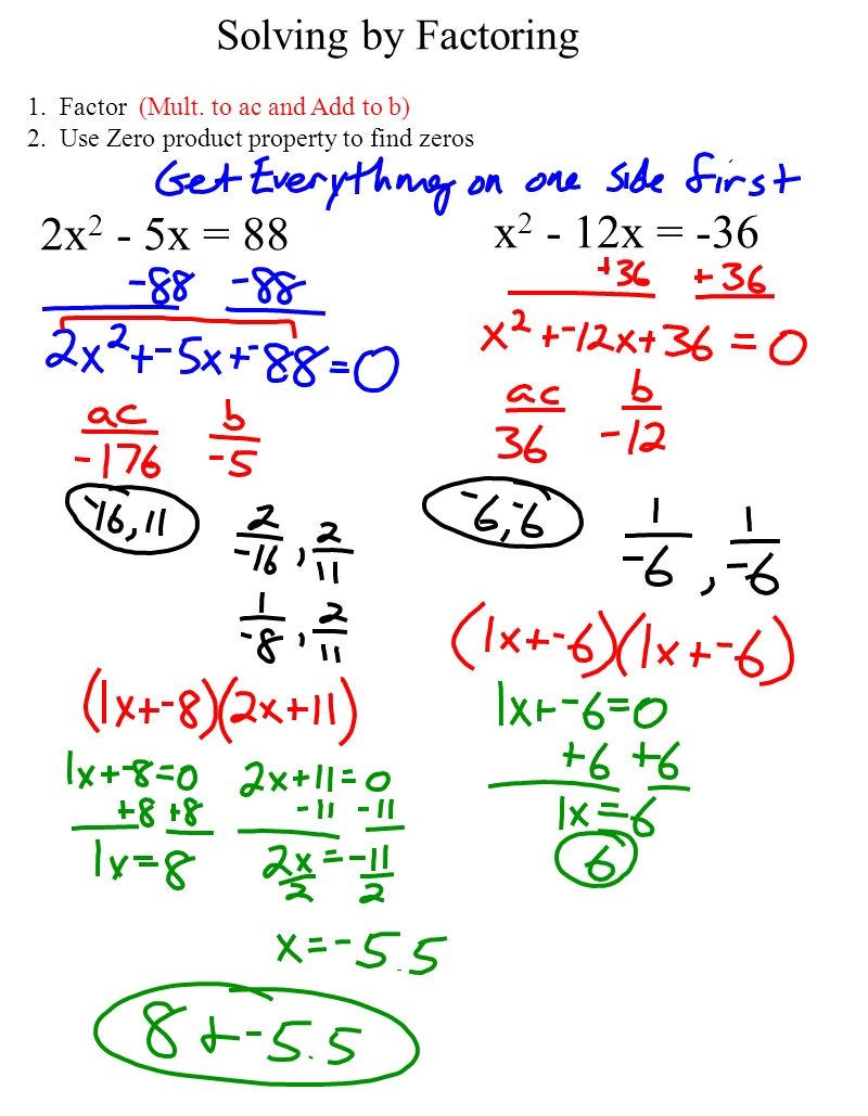 Algebra 1 Ch10 Notes Page 81 P Factoring To Solve Quadratic Finding The  Zeros