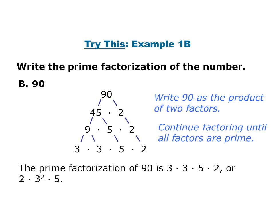 Unit 2 Section 2 : Prime Factors