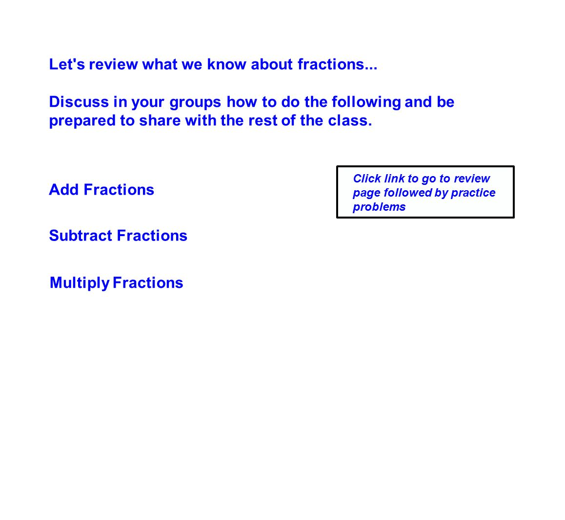 Let S Review What We Know About Fractions
