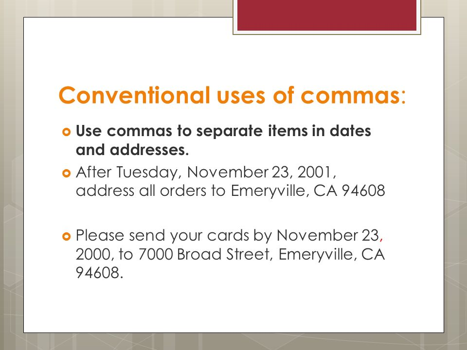 Commas after dates in Sydney