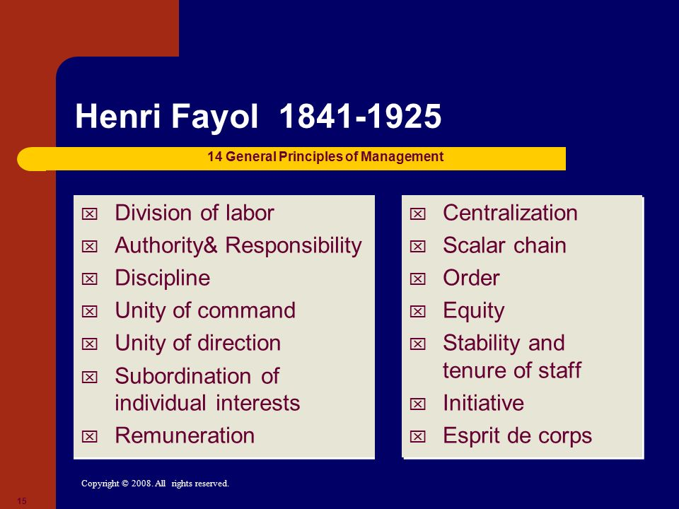 Henri Fayol 1841-1925 Division of labor Authority& Responsibility