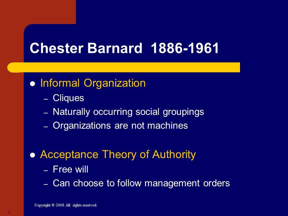 Chester Barnard 1886-1961 Informal Organization