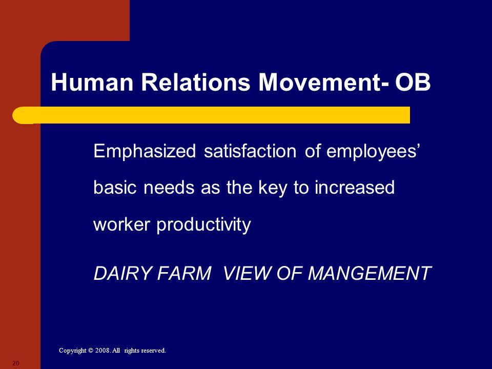 Human Relations Movement- OB