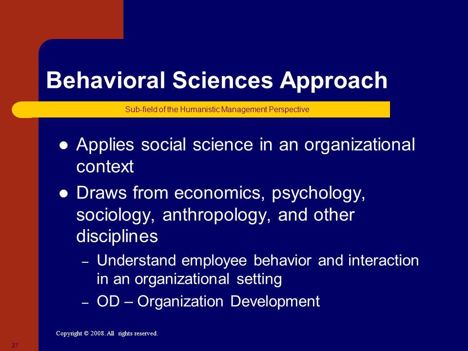 Behavioral Sciences Approach