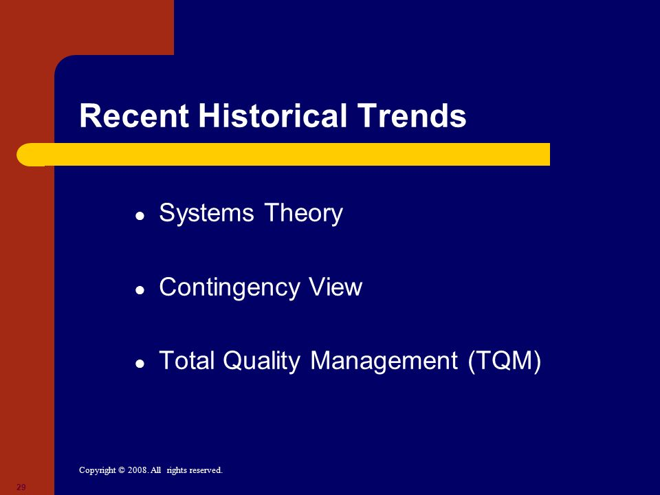 Recent Historical Trends