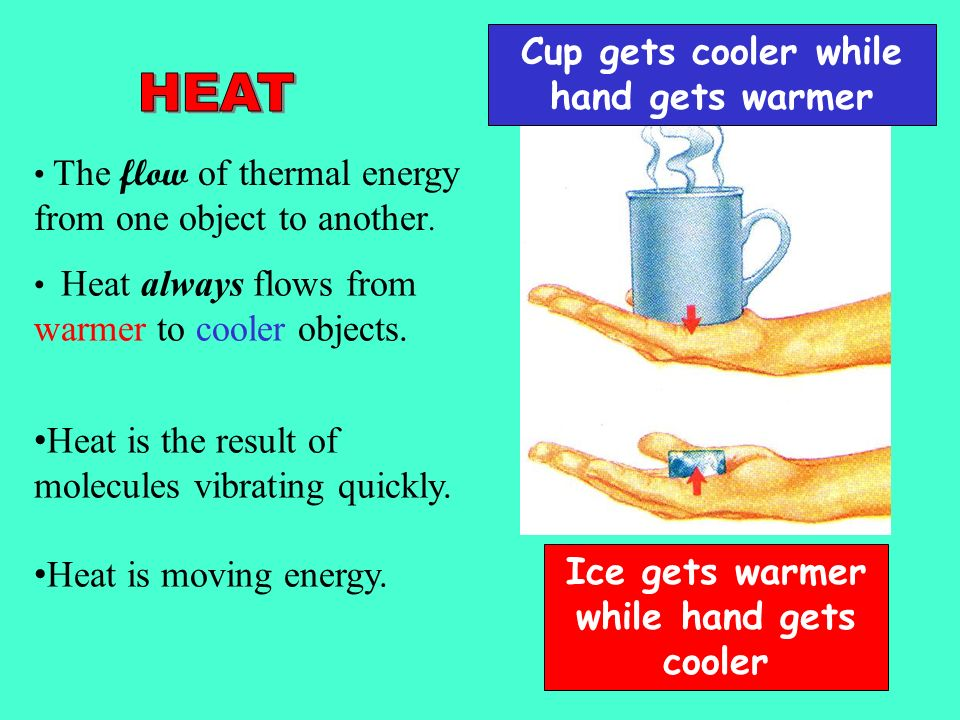 energy and heat flow Heat and temperature are two different but closely and heat has units of energy the thermal energy will flow in that direction until the two objects are at.