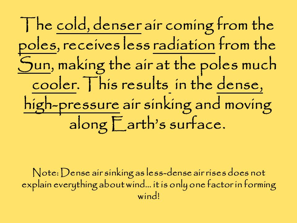 The cold, denser air coming from the poles, receives less radiation from the Sun, making the air at the poles much cooler. This results in the dense, high-pressure air sinking and moving along Earth's surface.