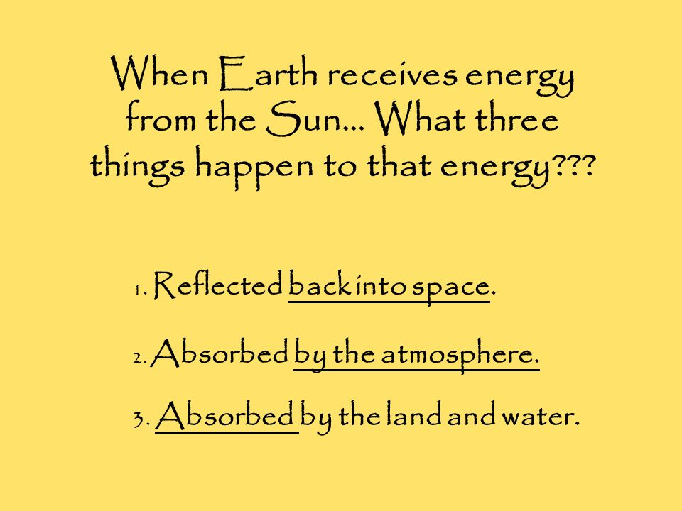 When Earth receives energy from the Sun… What three things happen to that energy