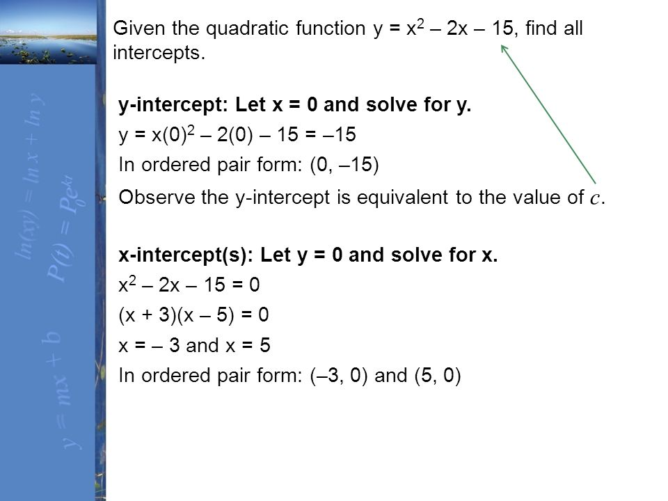how to find all x intercepts of a quadratic function