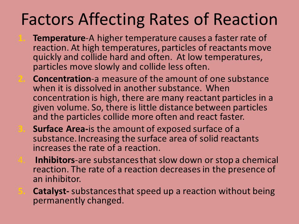 factors affecting the rate of reaction The effect of concentration and temperature on reaction rate  of chemical reactions reaction kinetics experimental techniques investigating factors affecting rate .