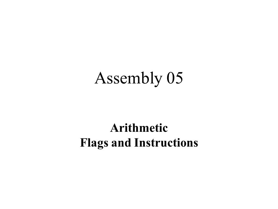 Arithmetic Flags and Instructions