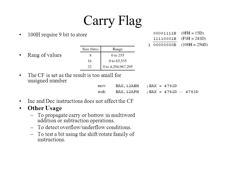 Carry Flag Other Usage 100H require 9 bit to store Rang of values