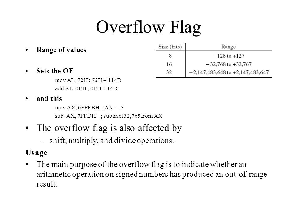 Overflow Flag The overflow flag is also affected by