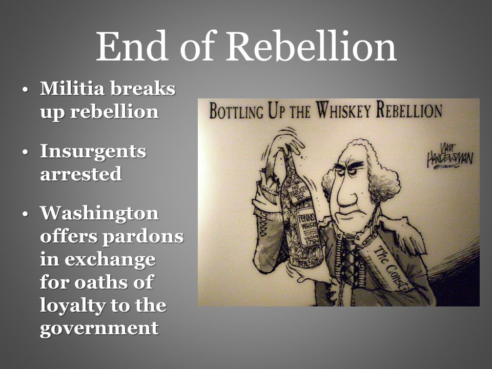 the conflict and government of the whiskey rebellion In the early days of the us, president washington and the new government  were  tribes was very complex and led to some of the us's first military conflicts  to highlight these issues, in this lesson we will cover the whiskey rebellion and .