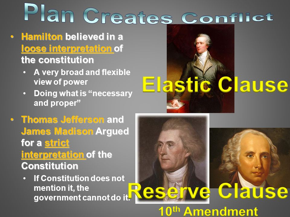 loose and broad interpretation of the Which of the following terms reflects alexander hamilton's broad interpretation of the constitution: limited construction, strict construction, loose construction, or implied construction ask for details.