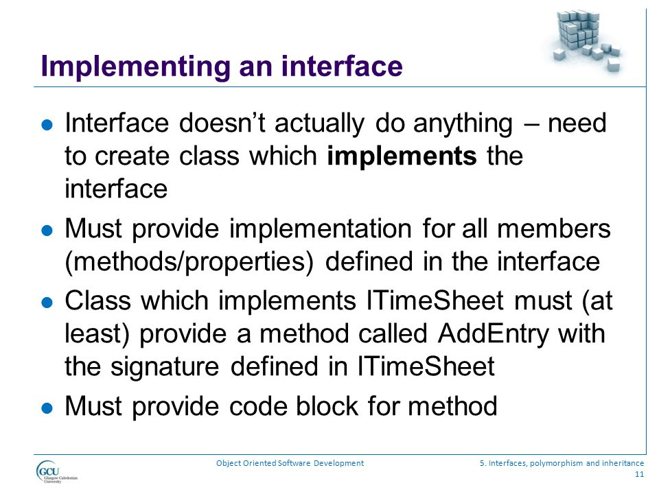 Implementing an interface
