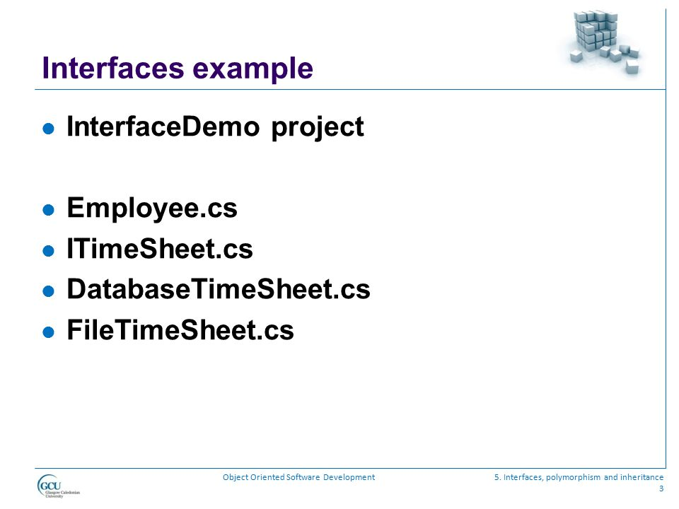 Interfaces example InterfaceDemo project Employee.cs ITimeSheet.cs