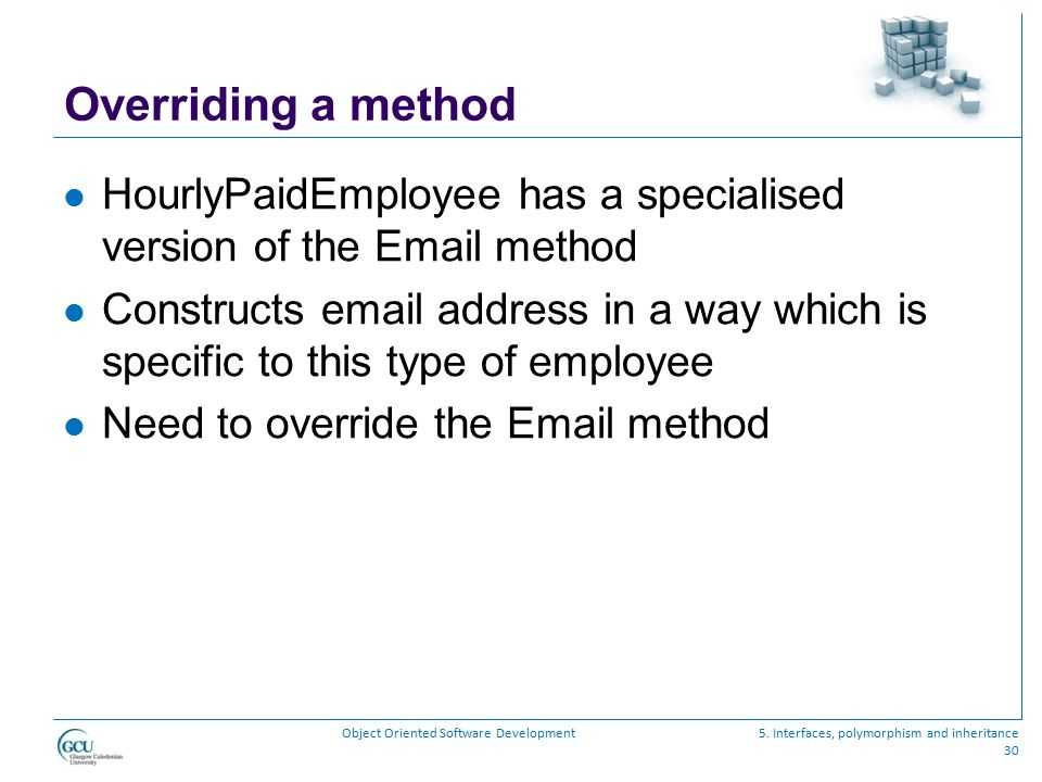 Overriding a method HourlyPaidEmployee has a specialised version of the Email method.