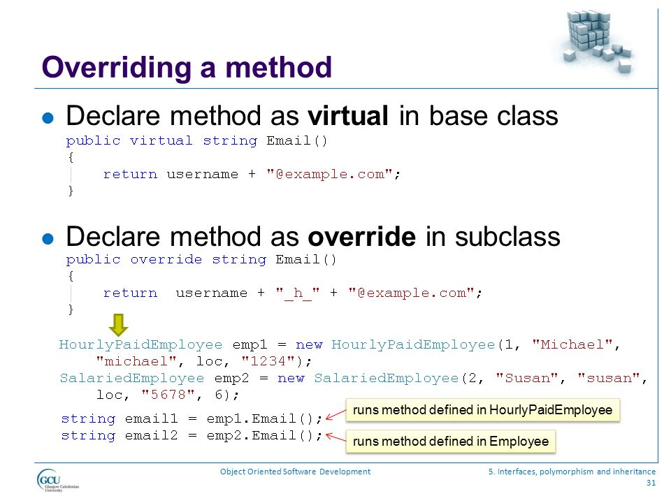 Overriding a method Declare method as virtual in base class