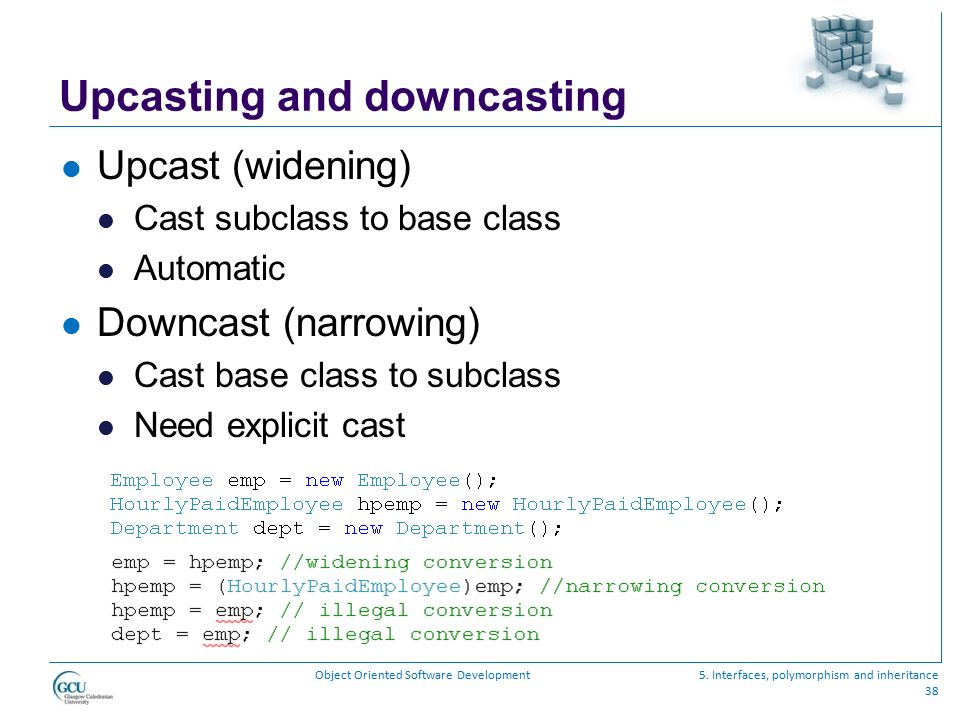 Upcasting and downcasting