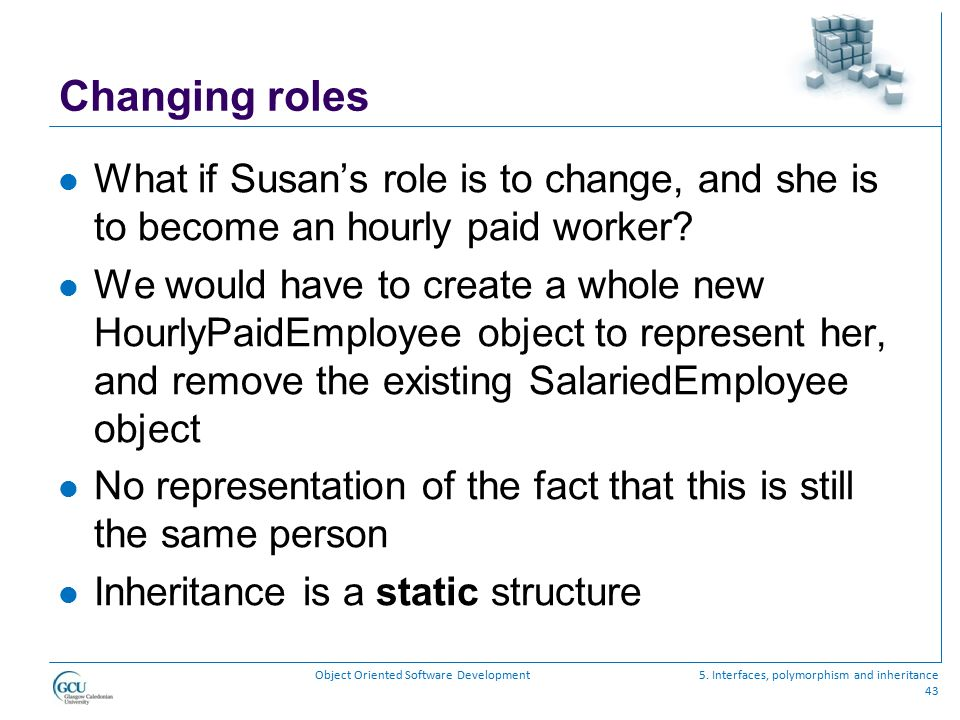 Changing roles What if Susan's role is to change, and she is to become an hourly paid worker