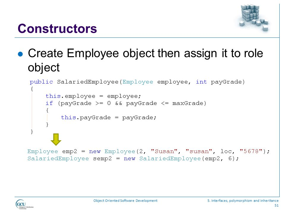 Constructors Create Employee object then assign it to role object
