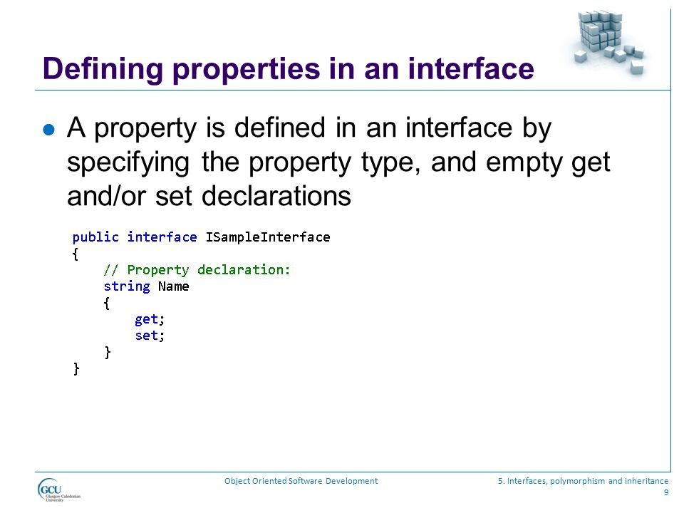 Defining properties in an interface