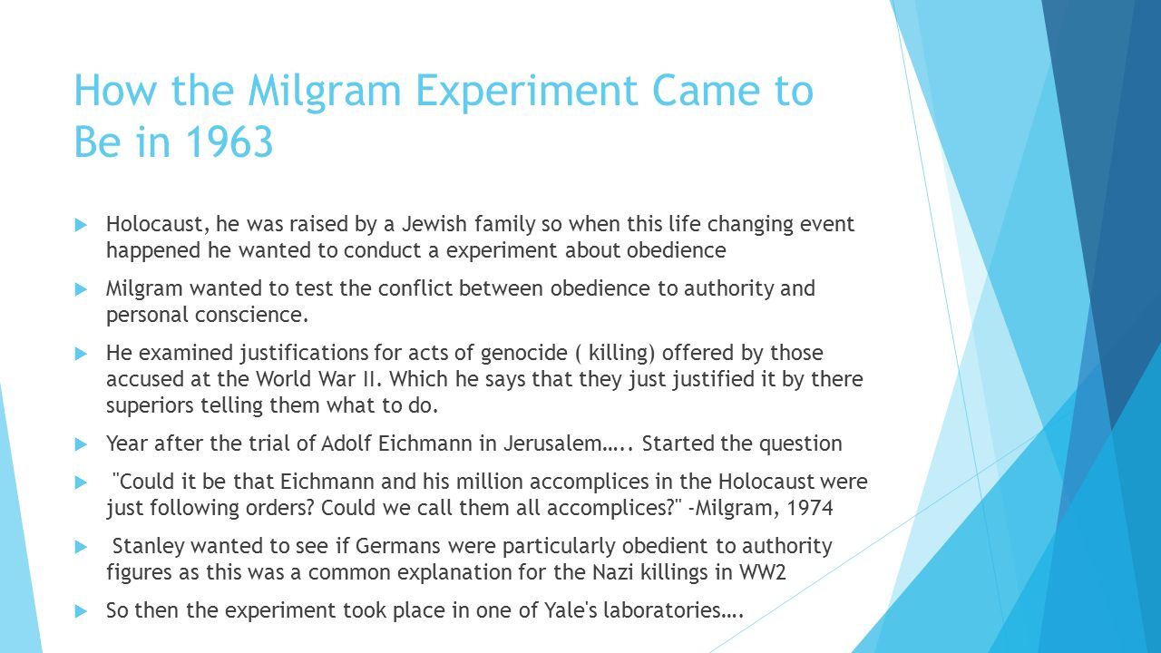 """the milgram experiment an experiment on the conflict between obedience to authority and personal con Wwwmdpicom/journal/socsci milgram decide against publishing this  experiment  documents obtained from milgram's personal archive, the aim of  this  however, as one war crimes prosecutor suggested, """"obeying."""