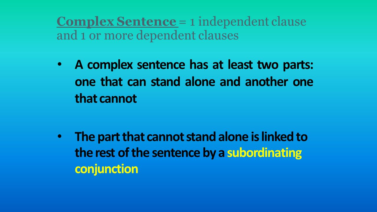 Complex sentences worksheet answers