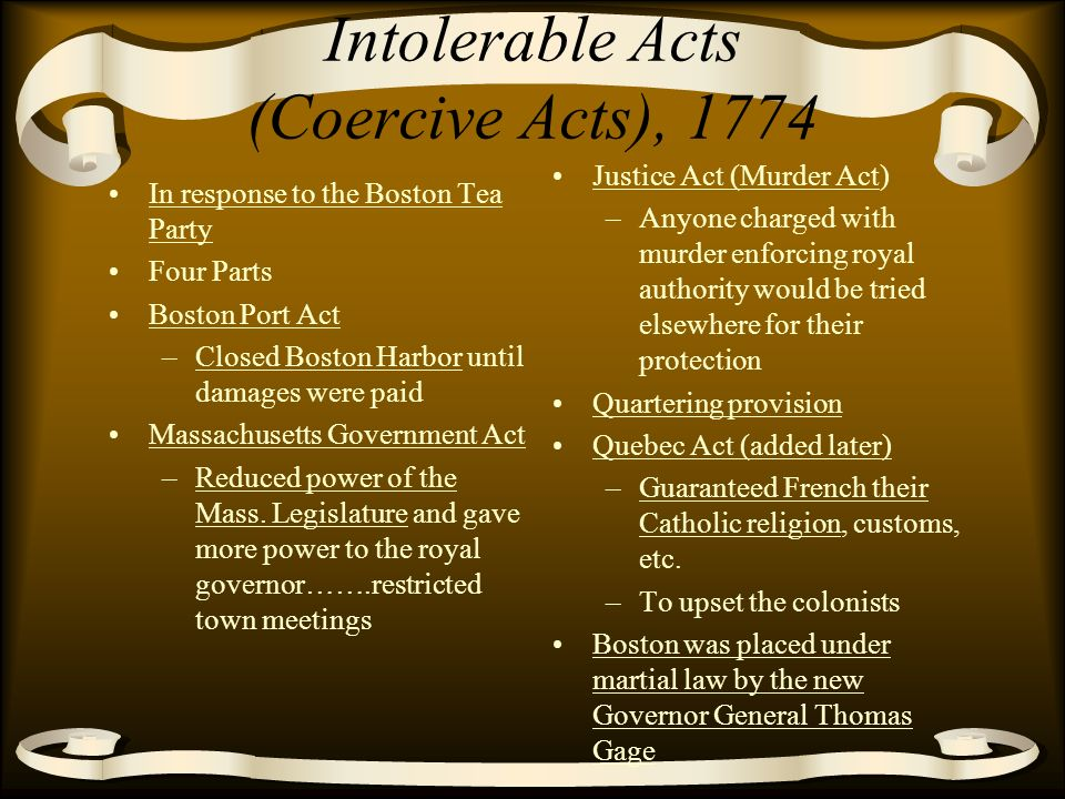 coercive acts and quebec act Stamp act the first direct tax on the american colonies, it taxes legal papers,  magazines, newspapers, and other  in britain, they are known as the coercive  acts americans call them the intolerable acts  quebec act (intolerable act #5.