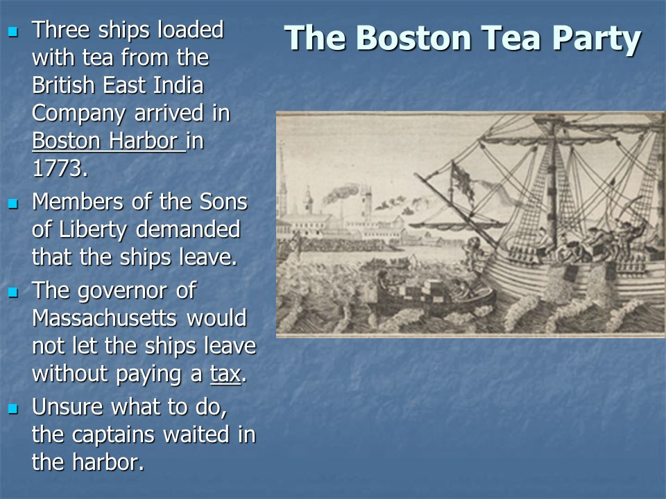 the boston tea party essay Is a cheaper cup of tea worth going to war in 1773, american colonists dumped tea into the boston harbor to protest the british government's tax.