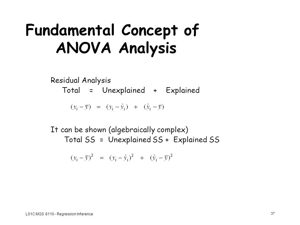 concept of anova Regression analysis: basic concepts allin cottrell 1 the simple linear model suppose we reckon that some variable of interest, y, is 'driven by' some other variable x.