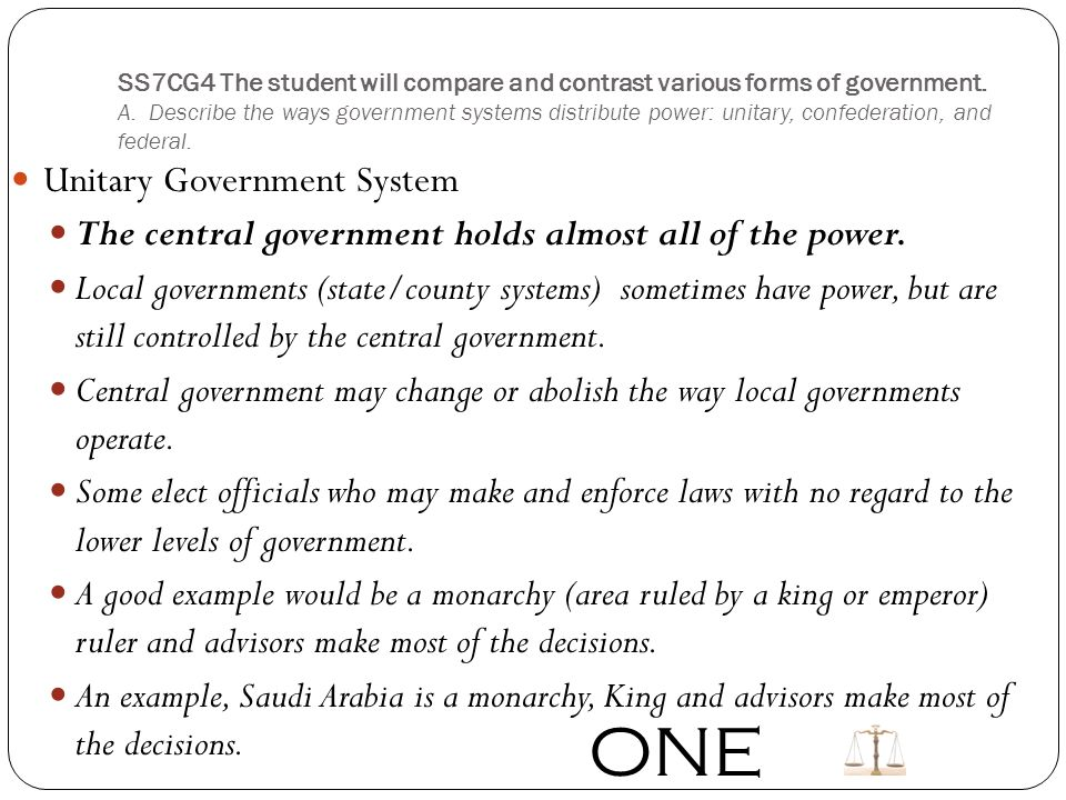 describe a unitary government system